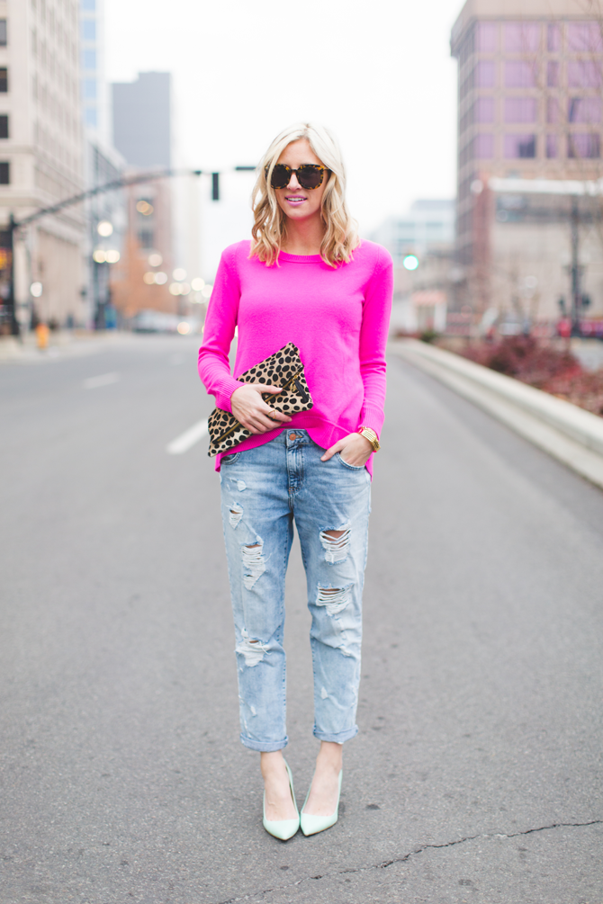 Little-Miss-Fearless_pink-DVF-sweater-leopard-clutch-2