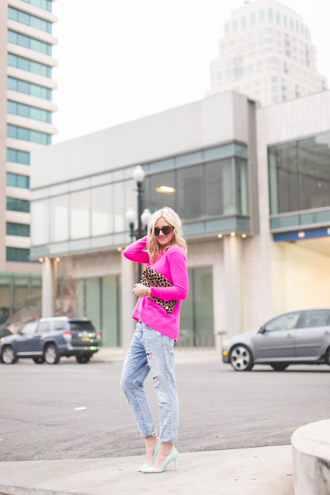 Little-Miss-Fearless_pink-DVF-sweater-leopard-clutch-4