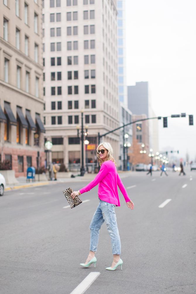 Little-Miss-Fearless_pink-DVF-sweater-leopard-clutch-8