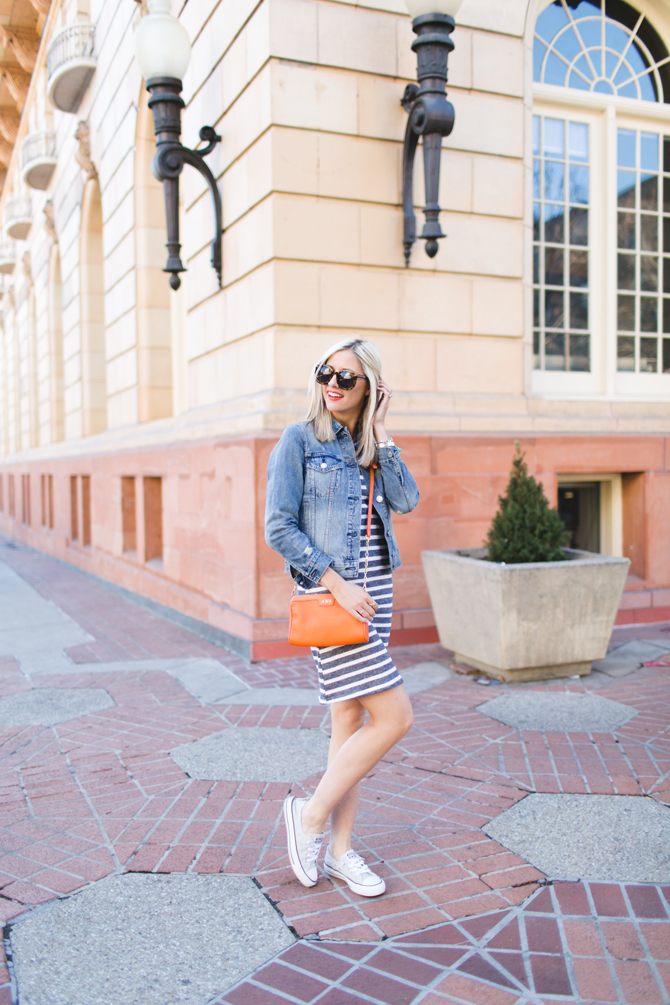 LittleMissFearless_gray striped dress orange crossbody 1