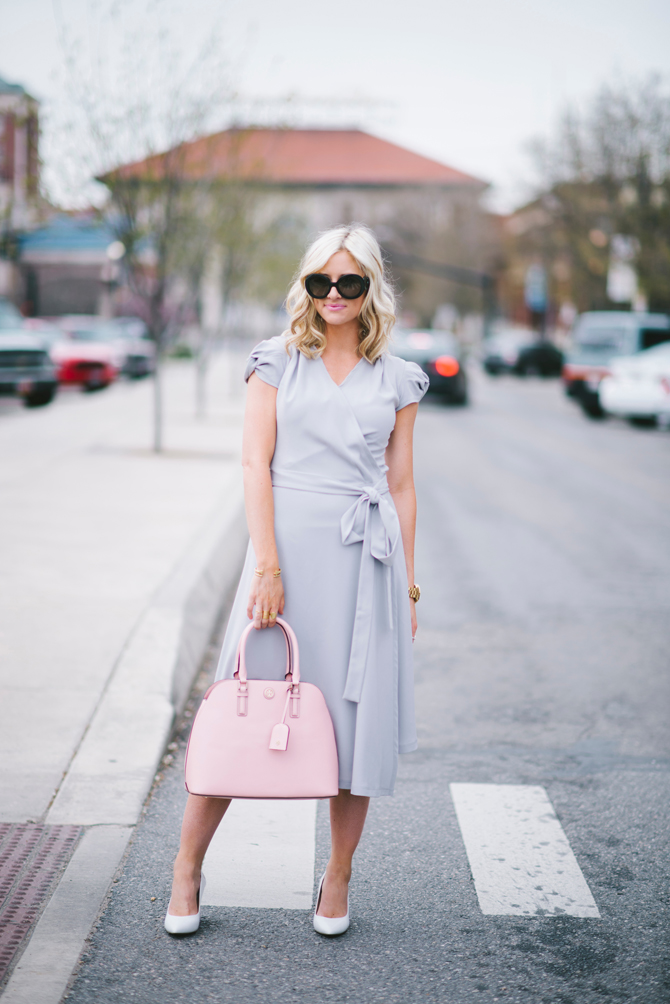 LittleMissFearless_modest gray dress pink tory burch bag 4