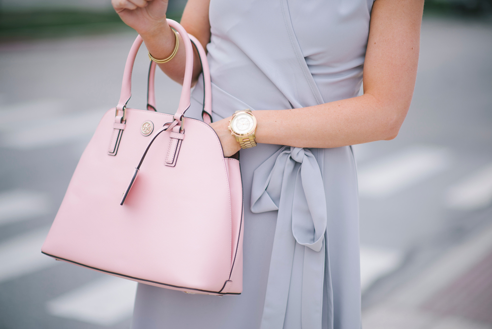 LittleMissFearless_modest gray dress pink tory burch bag 7