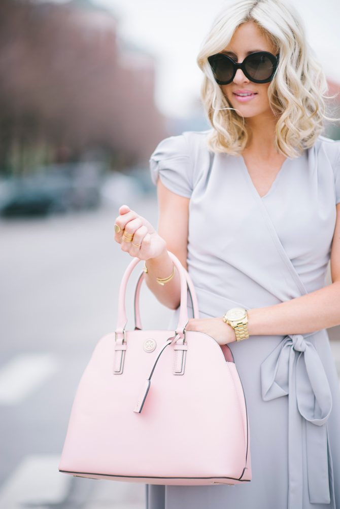 LittleMissFearless_modest gray dress pink tory burch bag 9