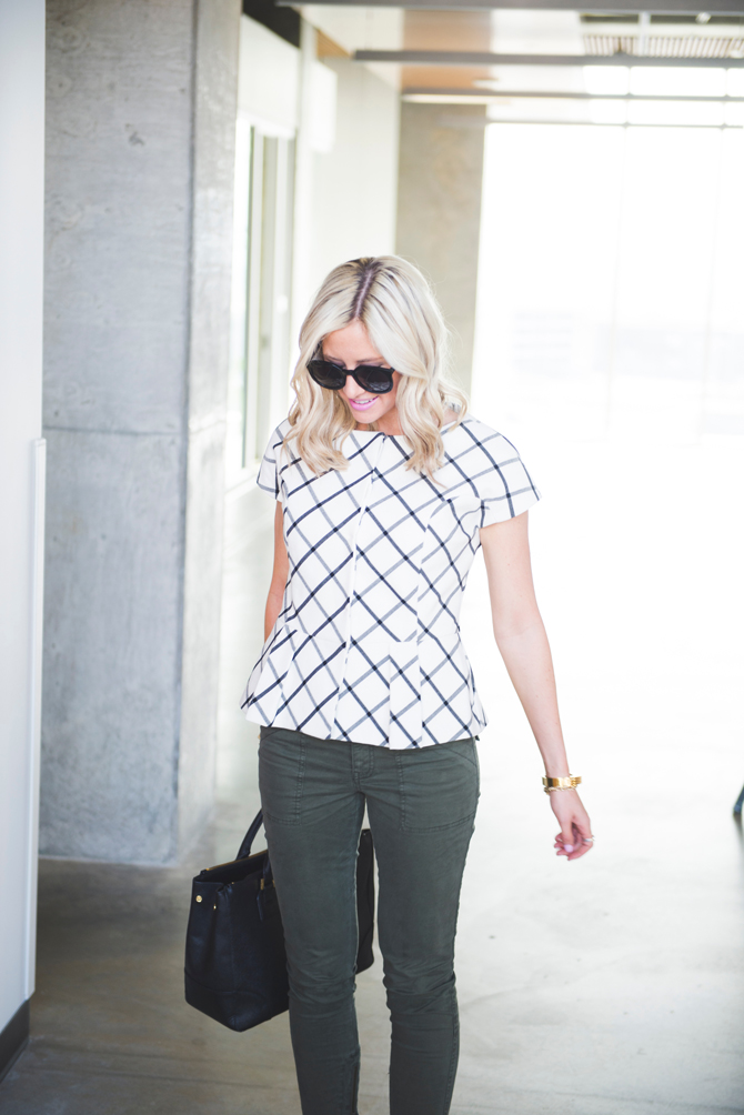 LittleMissFearless_office style outfit ideas check peplum 2