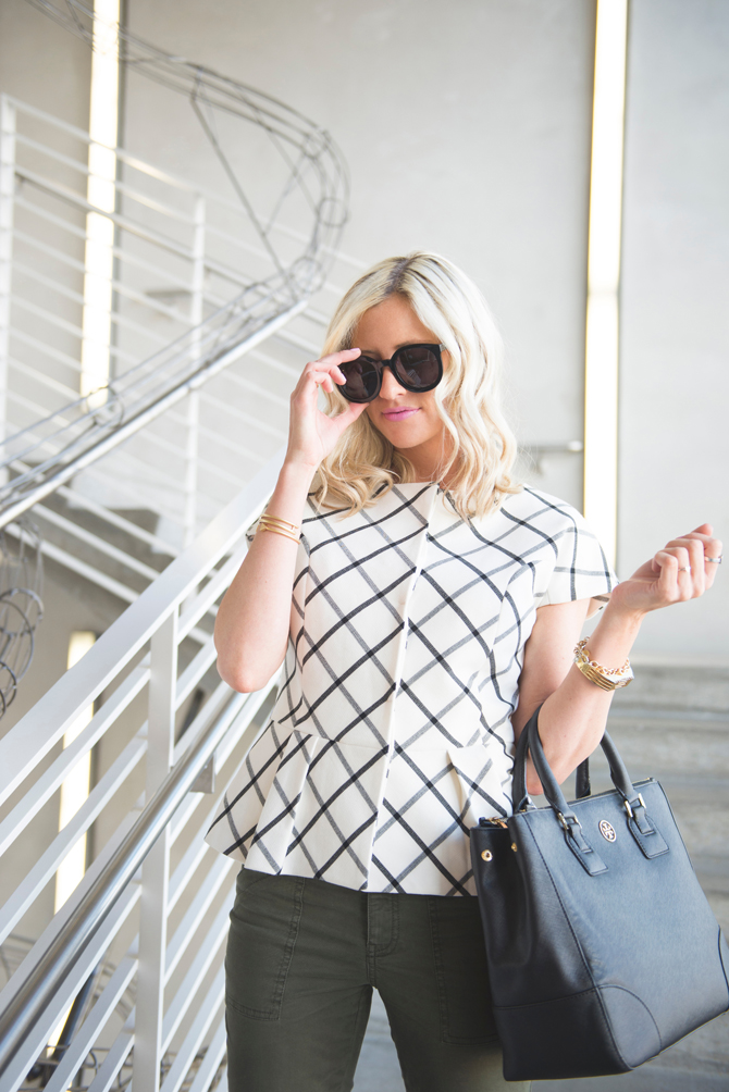 LittleMissFearless_office style outfit ideas check peplum 3