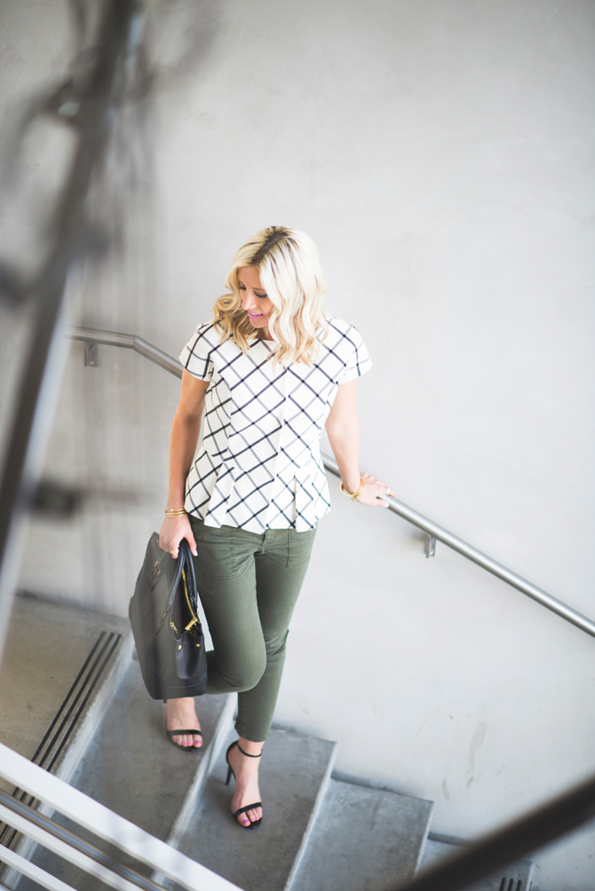 LittleMissFearless_office style outfit ideas check peplum 9