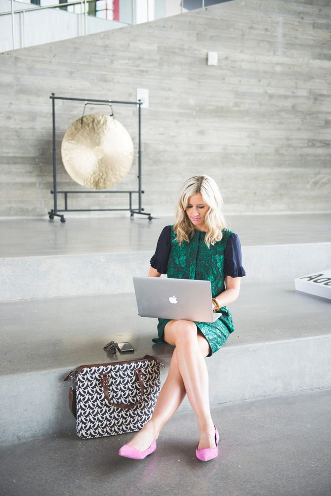 LittleMissFearless_office style outfit ideas_metallic green jcrew dress 10