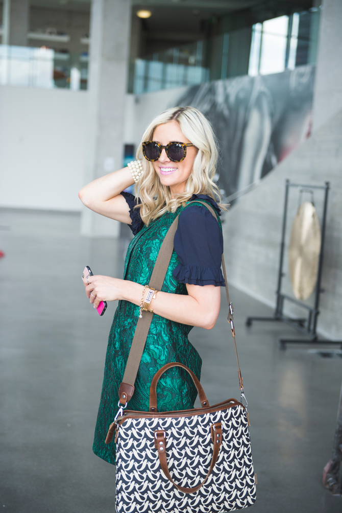 LittleMissFearless_office style outfit ideas_metallic green jcrew dress 11
