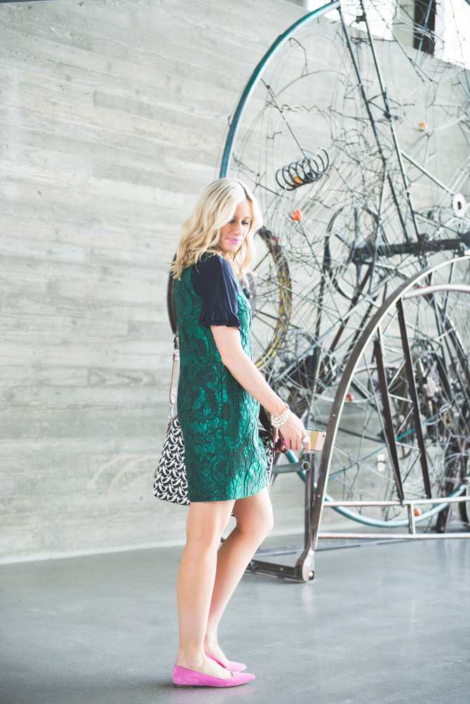LittleMissFearless_office style outfit ideas_metallic green jcrew dress 4