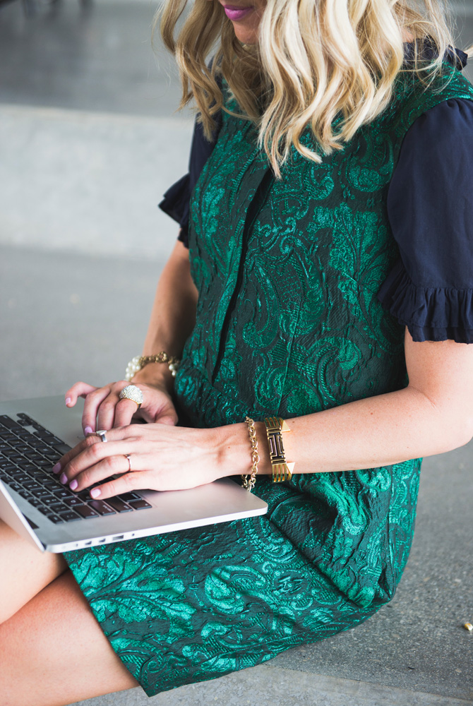LittleMissFearless_office style outfit ideas_metallic green jcrew dress 9