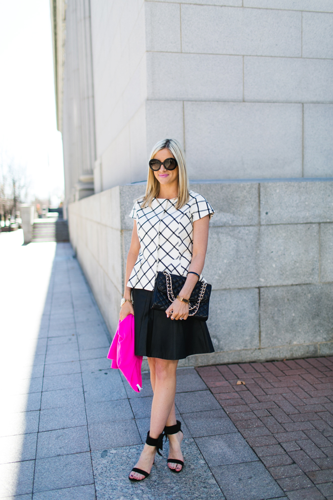 LittleMissFearless_scandal check peplum pink dvf sweater 1