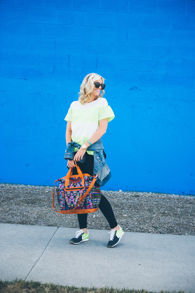LittleMissFearless_striped neon top vintage nike sneakers 12