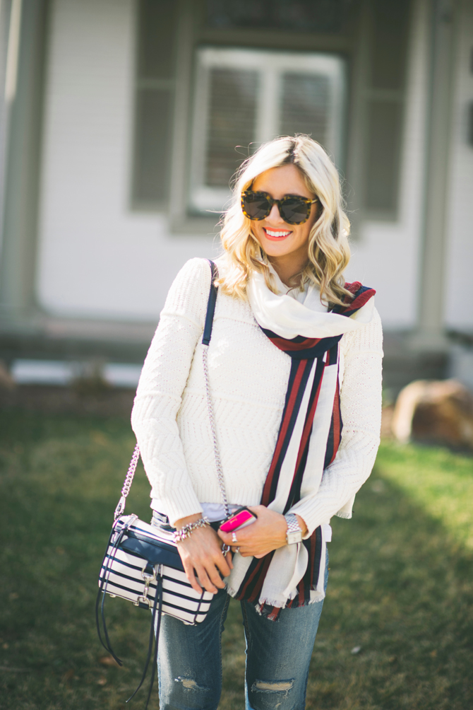 LittleMissFearless_striped scarf spring outfit ideas 8