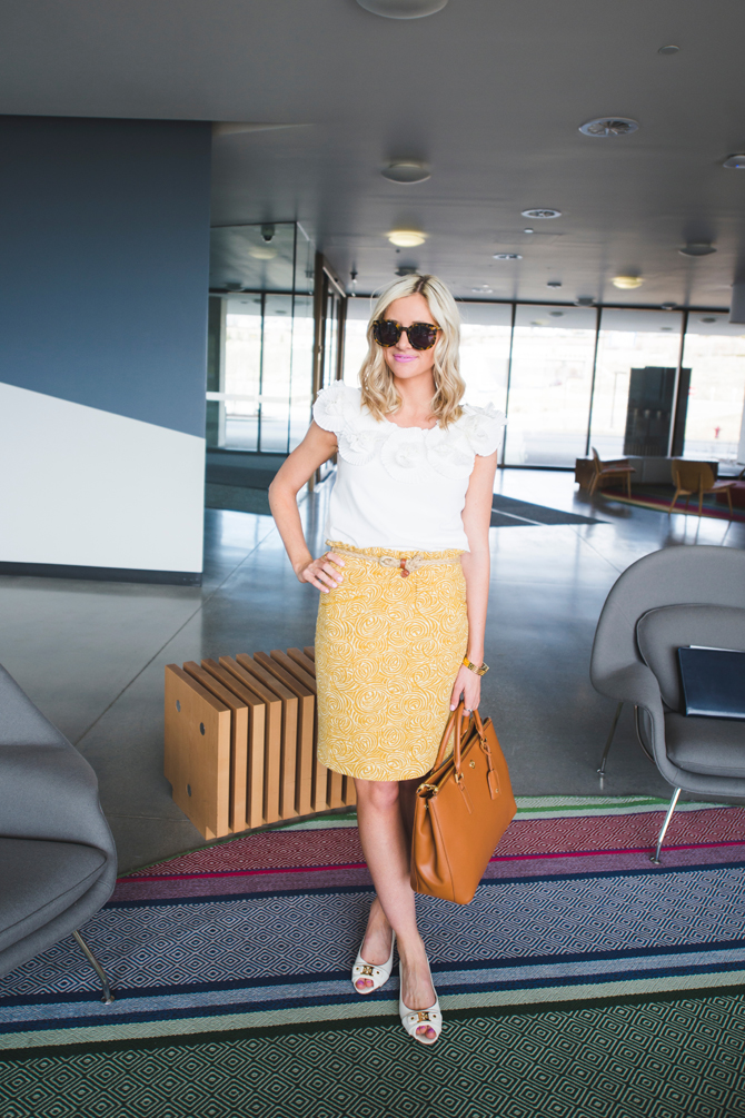 LittleMissFearless_wear to work outfit ideas yellow skirt 1