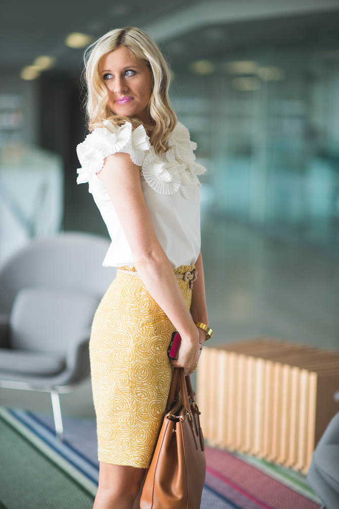 LittleMissFearless_wear to work outfit ideas yellow skirt 2