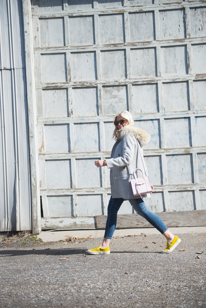 LittleMissFearless_yellow vans gray jcrew coat 1