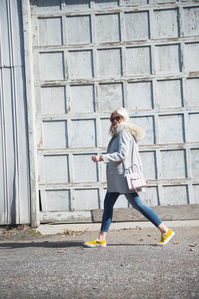 LittleMissFearless_yellow vans gray jcrew coat 1