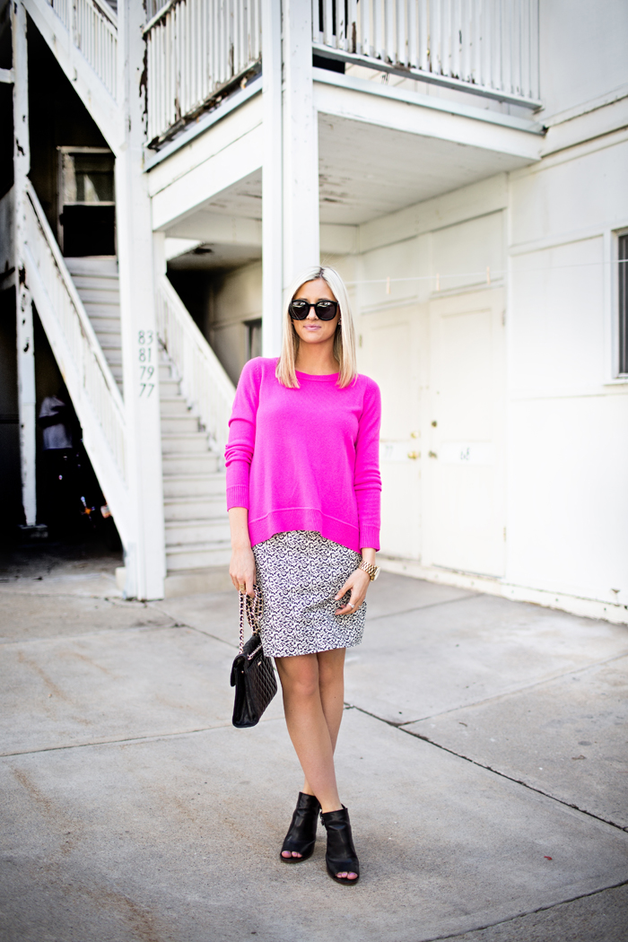 LittleMissFearless_DVF hot pink sweater jcrew ikat skirt 1