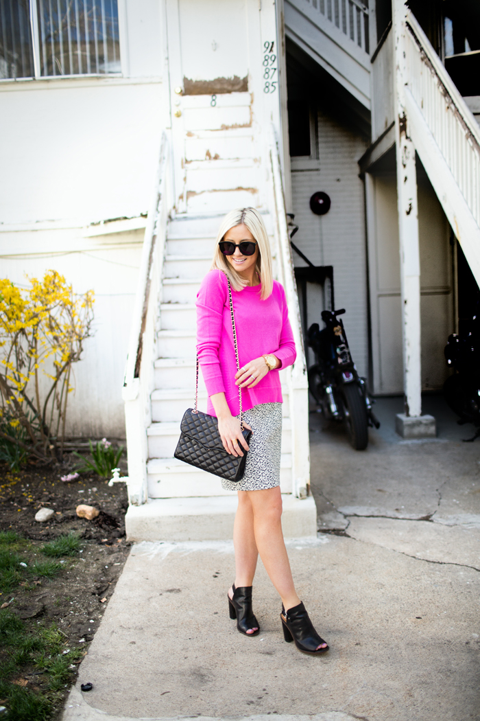 LittleMissFearless_DVF hot pink sweater jcrew ikat skirt 4