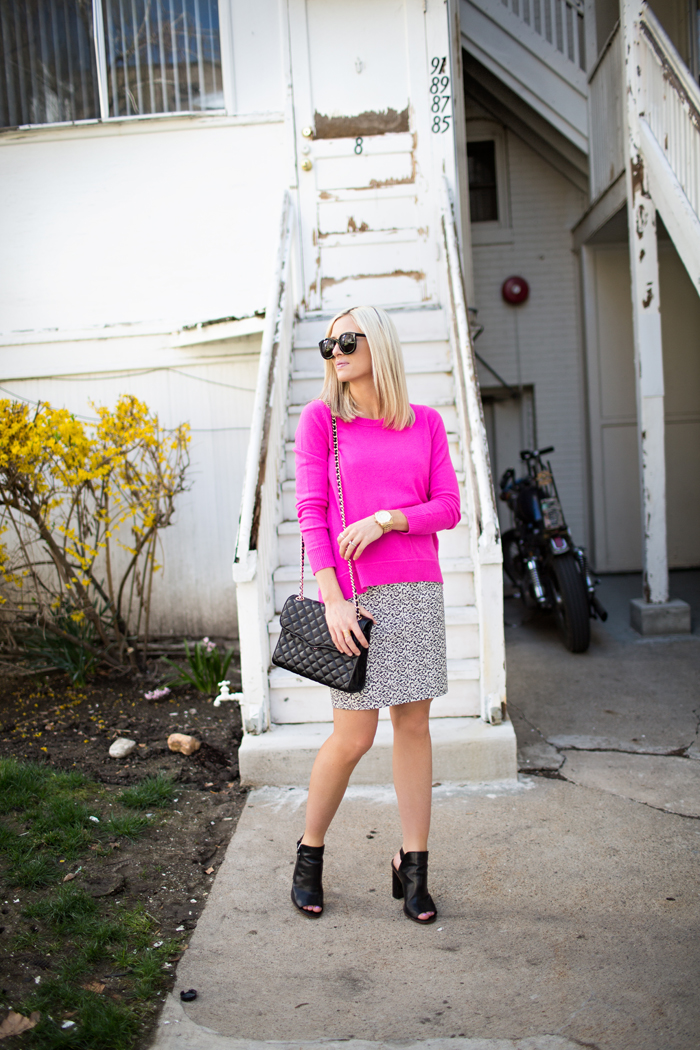 LittleMissFearless_DVF hot pink sweater jcrew ikat skirt 5