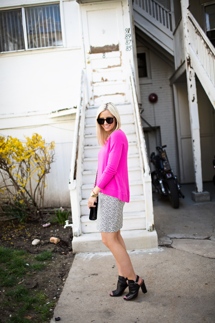 LittleMissFearless_DVF hot pink sweater jcrew ikat skirt 6