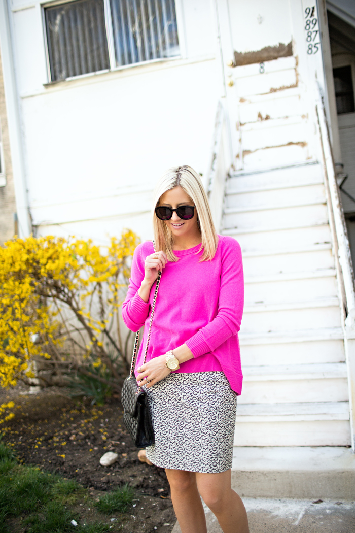 LittleMissFearless_DVF hot pink sweater jcrew ikat skirt 8