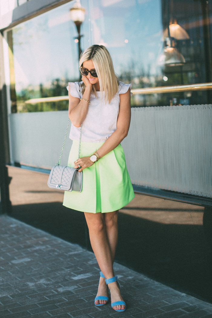 LittleMissFearless_jcrew neon yellow skirt 1