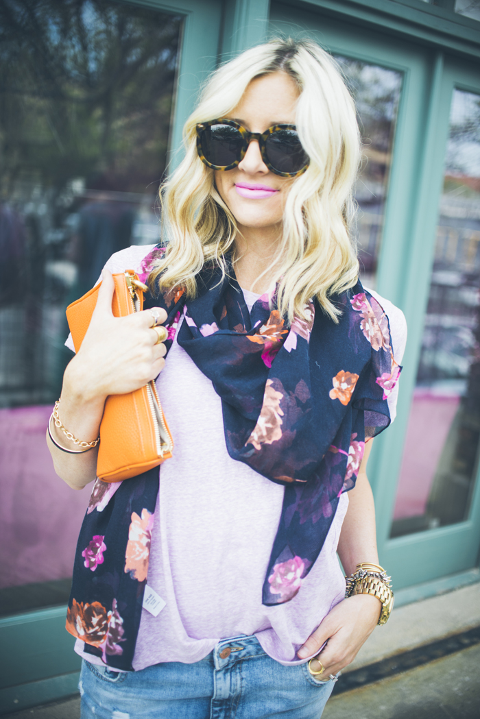 LittleMissFearless_jcrew navy floral scarf + striped orange espadrilles 2