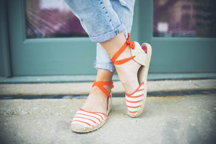 LittleMissFearless_jcrew navy floral scarf + striped orange espadrilles 6