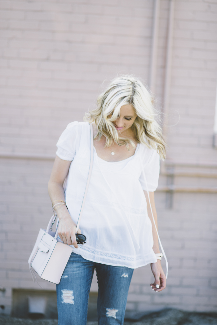 LittleMissFearless_SheIn white flowy gauze top 1
