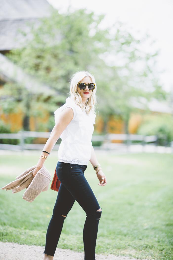 LittleMissFearless_black jbrand jeans white burkenstock sandals 2