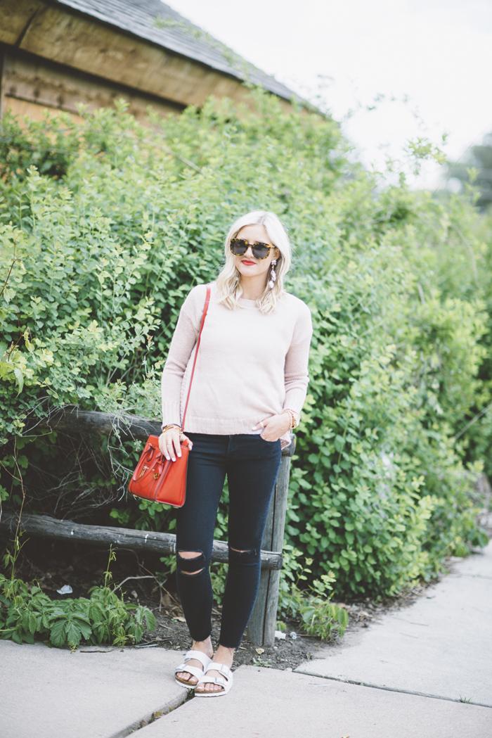 LittleMissFearless_black jbrand jeans white burkenstock sandals 8