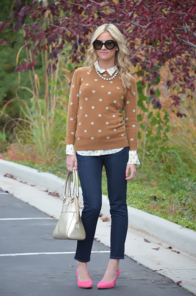 LittleMissFearless_jcrew polka dot camel sweater