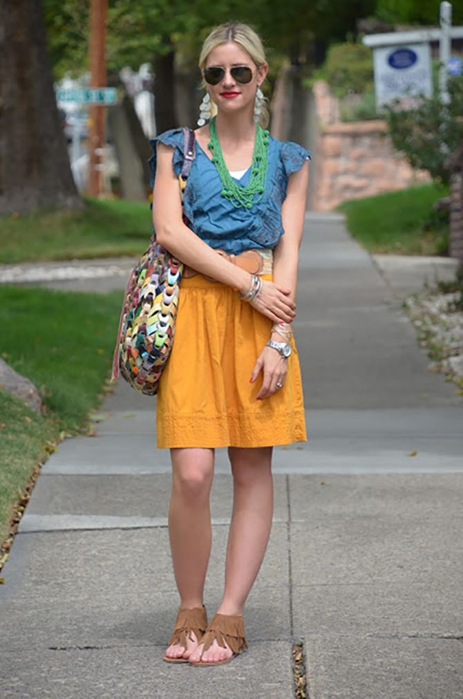 LittleMissFearless_orange anthropologie skirt