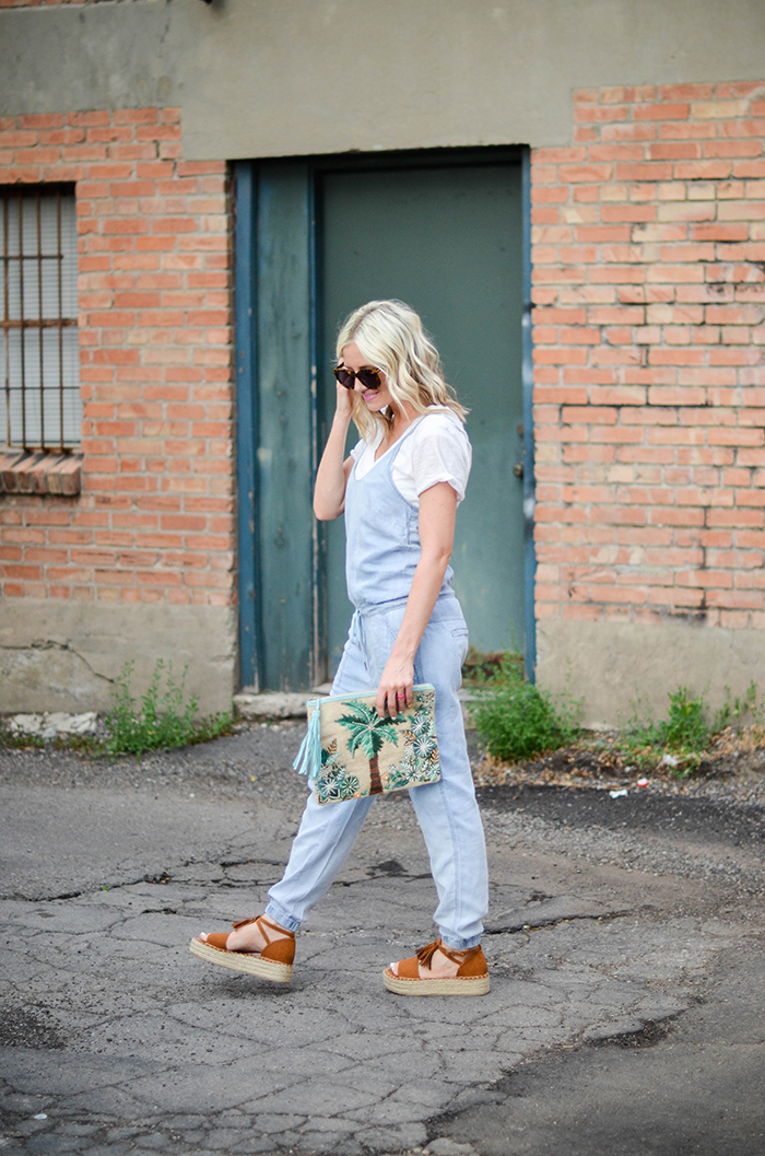 LittleMissFearless_BlankNYC Denim Jumpsuit_Palm Tree Clutch-10