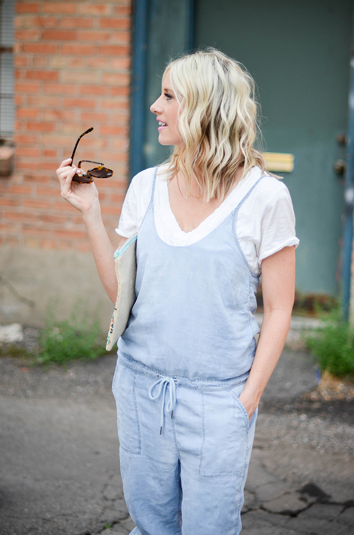 LittleMissFearless_BlankNYC Denim Jumpsuit_Palm Tree Clutch-17