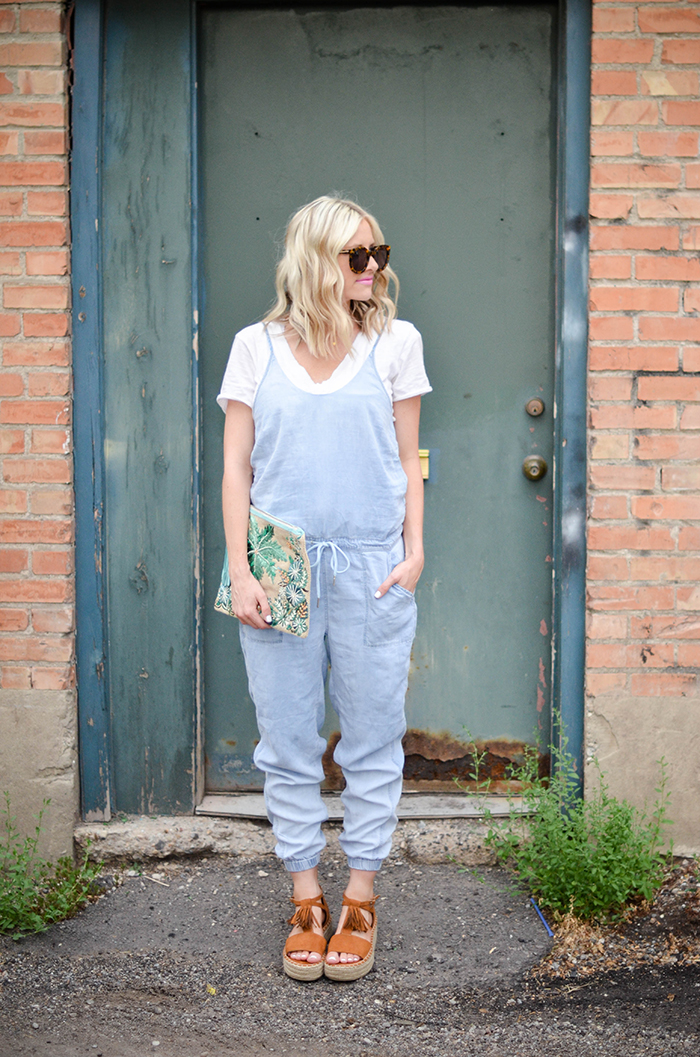 LittleMissFearless_BlankNYC Denim Jumpsuit_Palm Tree Clutch-2