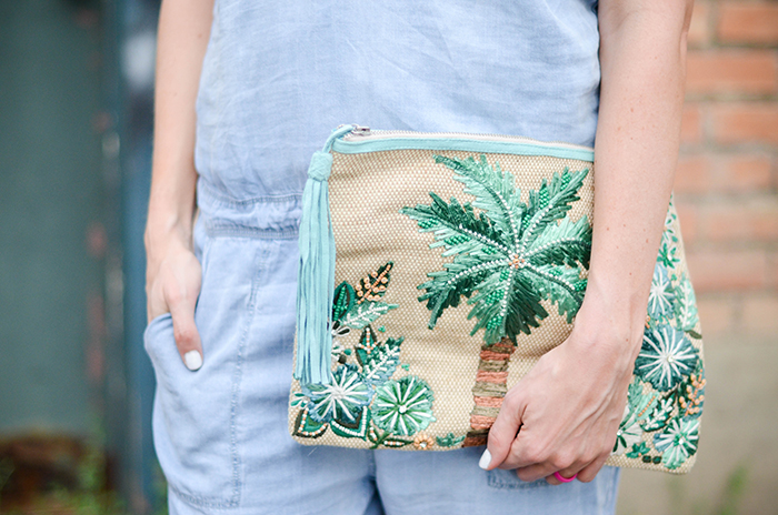 LittleMissFearless_BlankNYC Denim Jumpsuit_Palm Tree Clutch-21