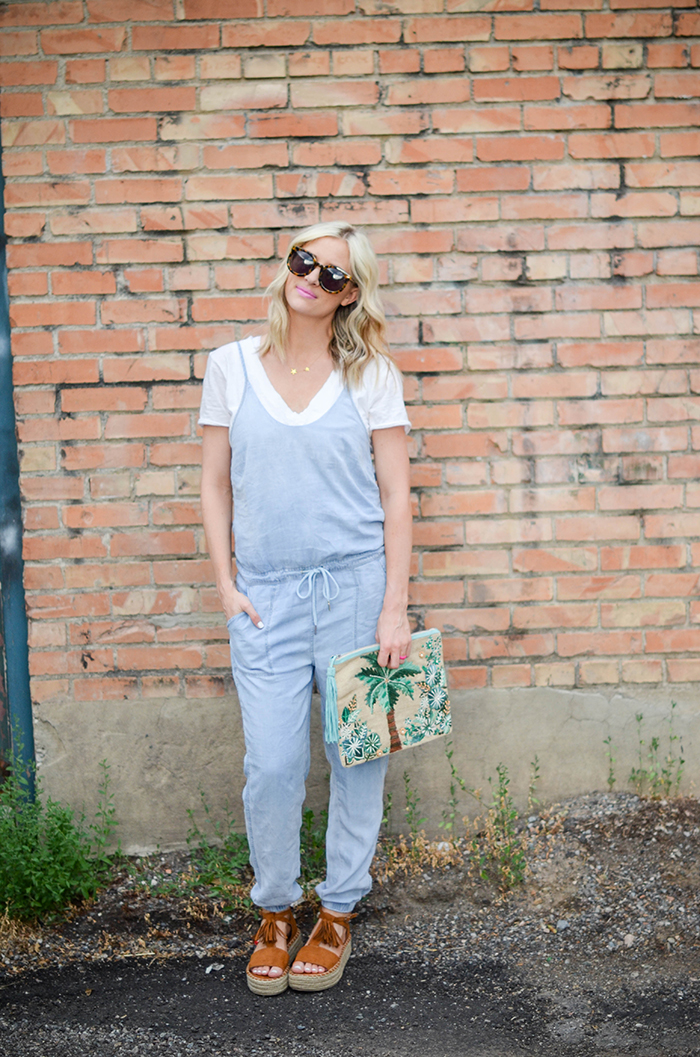 LittleMissFearless_BlankNYC Denim Jumpsuit_Palm Tree Clutch-5