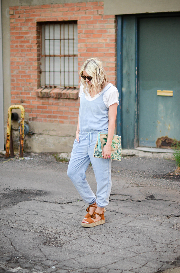 LittleMissFearless_BlankNYC Denim Jumpsuit_Palm Tree Clutch-8