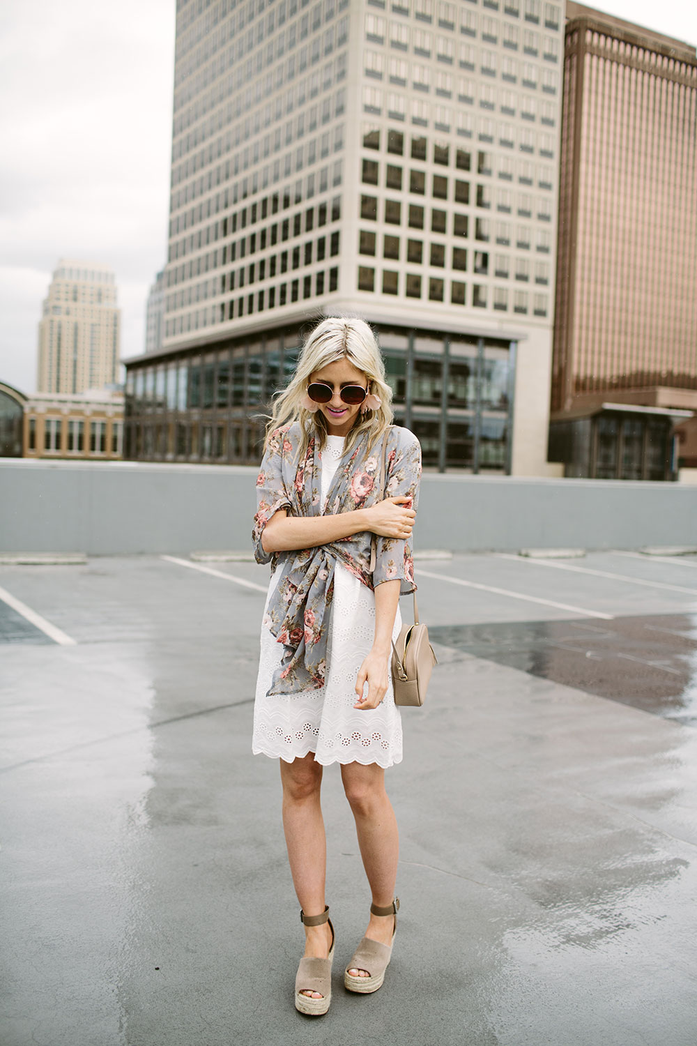 White lace eyelet dress with sheer floral kimono for spring and summer fashion | Little Miss Fearless
