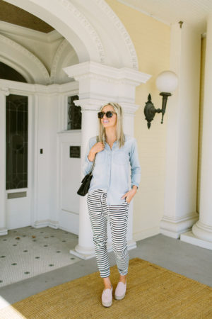 black white striped joggers women | Little Miss Fearless