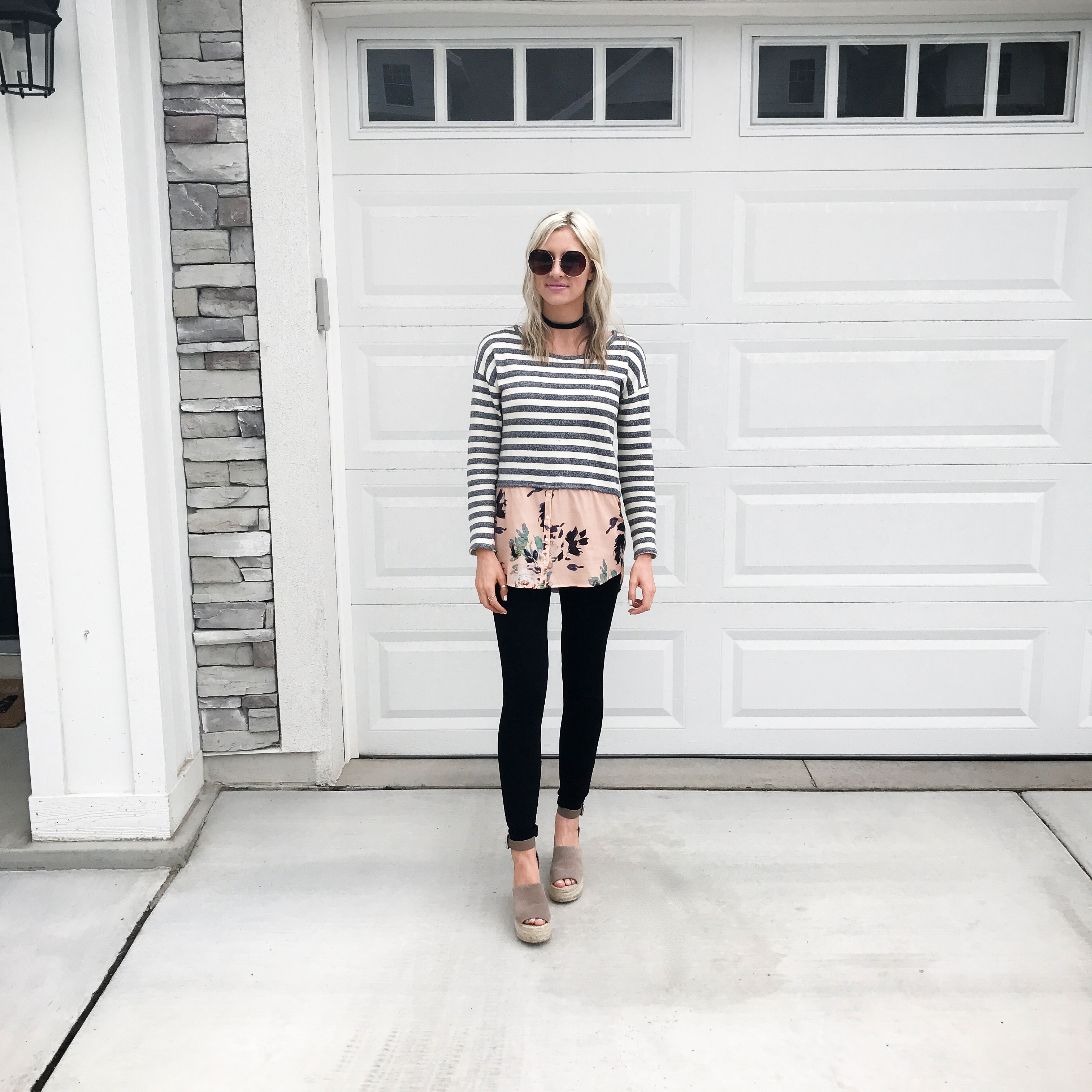 stripes and floral layered spring style anthropologie | Little Miss Fearless