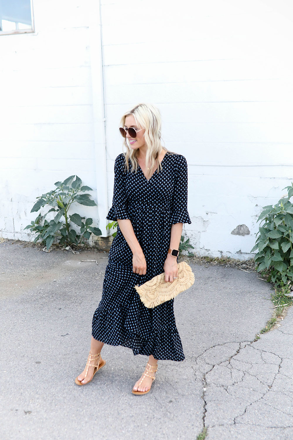 Affordable summer wardrobe essentials | navy floral maxi dress | Little Miss Fearless