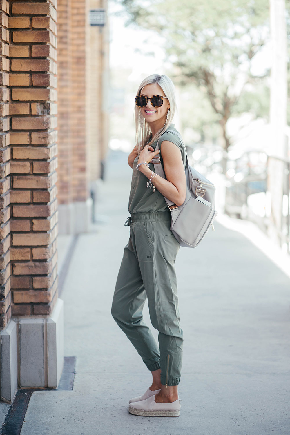How to wear a jumpsuit 4 ways | summer outfit ideas | stylish mom outfits | how to style a diaper bag | Little Miss Fearless