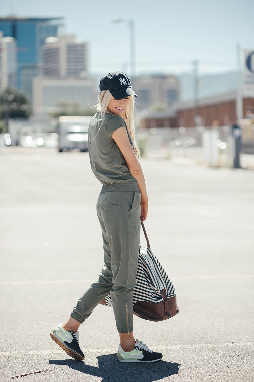 How to wear a jumpsuit 4 ways | summer road trip outfit | how to style a baseball hat | Little Miss Fearless