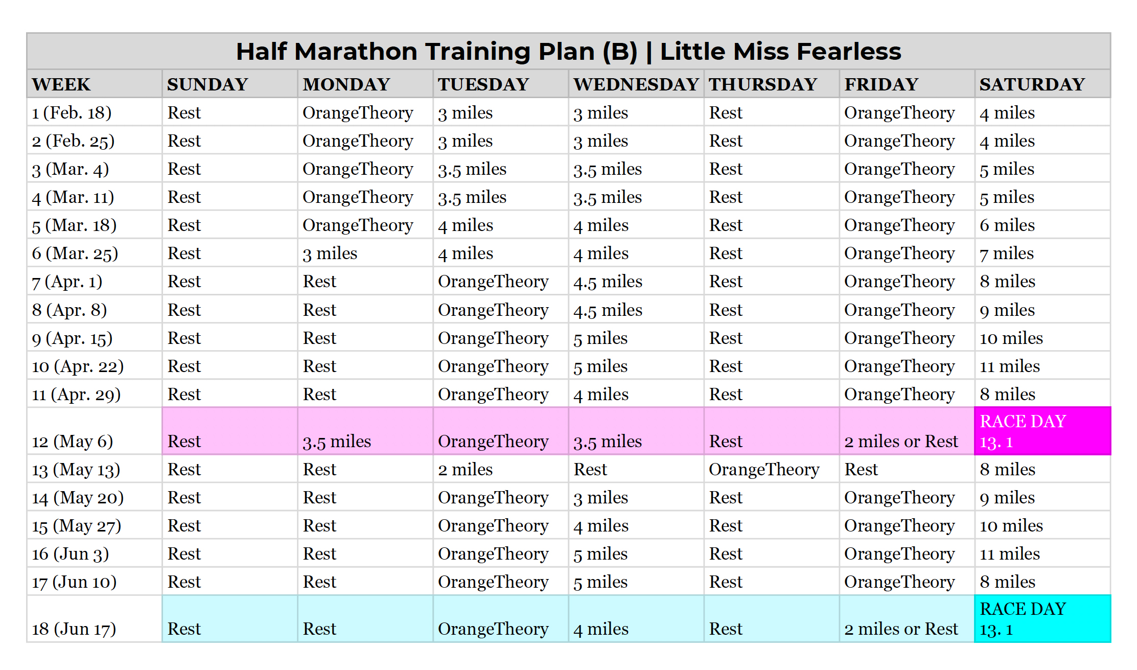 My Half Marathon Training Plan | Little Miss Fearless