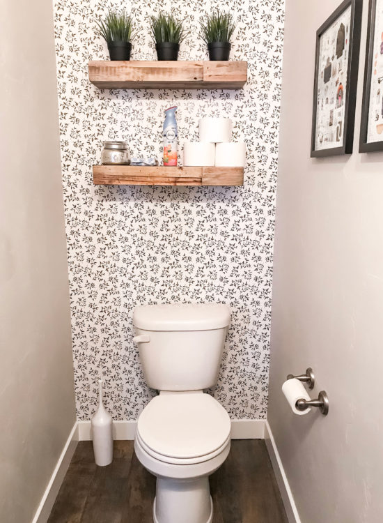 Easily Transform a Small Bathroom with Removable Wallpaper | Little Miss Fearless